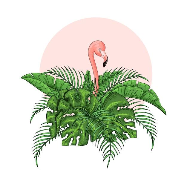 Schöne exotische mit blumenvektorillustration mit rosa flamingo Premium Vektoren