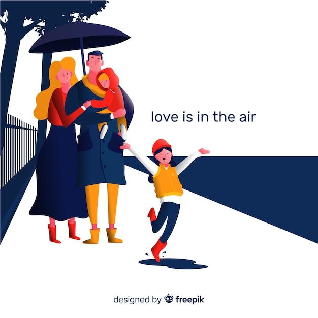 Schöne familie, die einen spaziergang macht Kostenlosen Vektoren