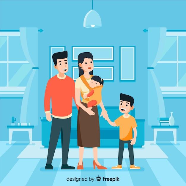 Schöne familie zu hause mit flachem design Kostenlosen Vektoren