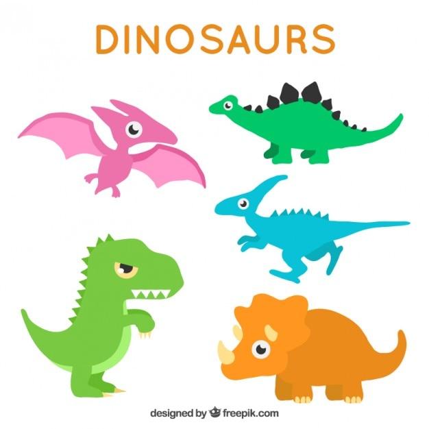 Schöne farbige dinosaurier im cartoon-stil Kostenlosen Vektoren