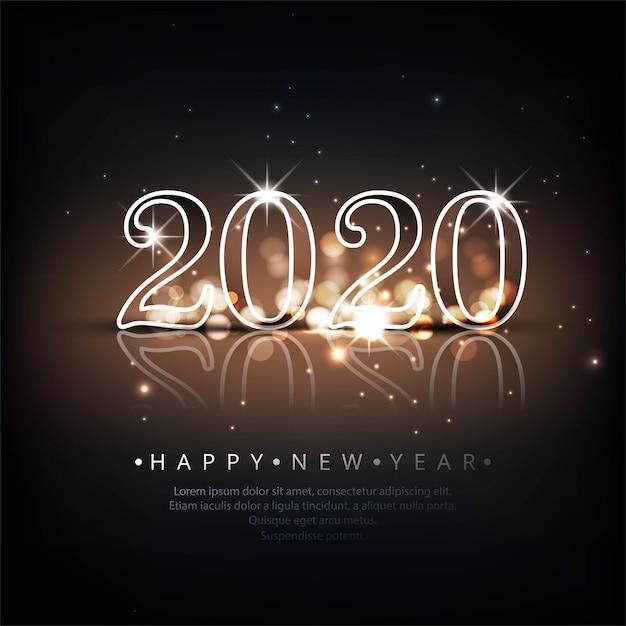 Schöne feierkarte des neuen jahres 2020 Kostenlosen Vektoren