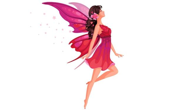 Schöne fliegende fee in der rosa kleidillustration Premium Vektoren