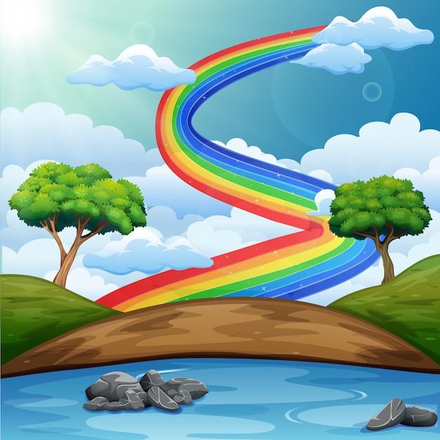 Schöne flusslandschaft mit regenbogen Premium Vektoren