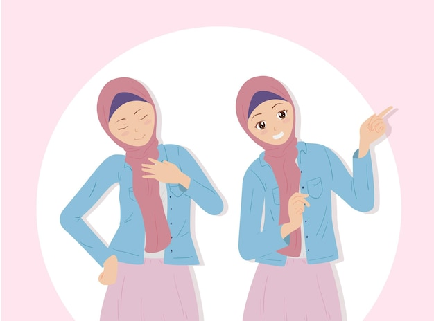 Schöne frau, die hijab tragend aufwirft Premium Vektoren