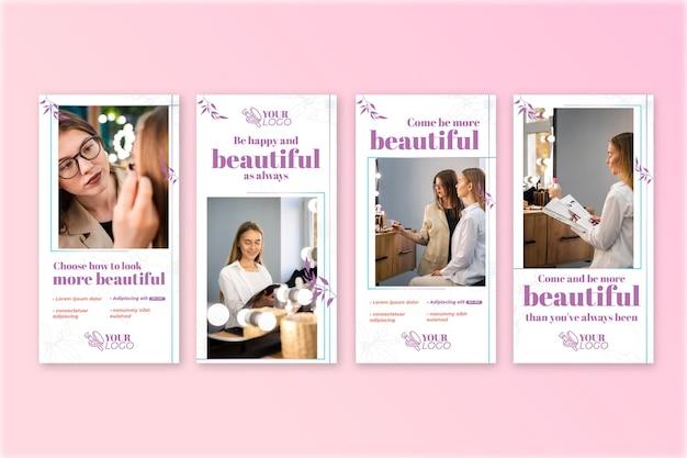 Schöne frau kosmetische instagram geschichten vorlage Kostenlosen Vektoren