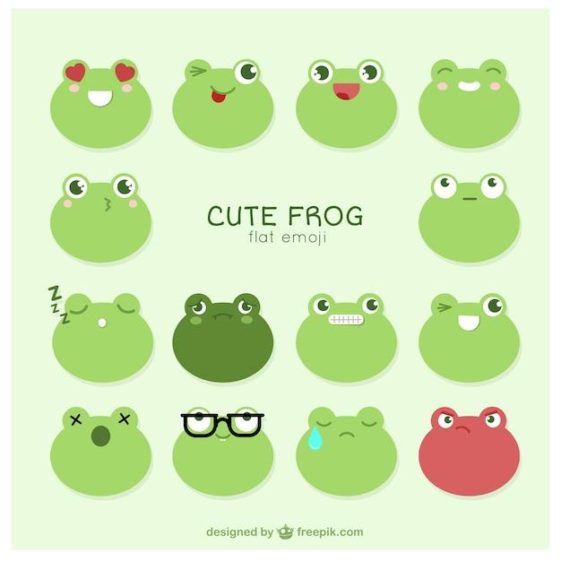 Schöne frosch emoticons eingestellt Kostenlosen Vektoren