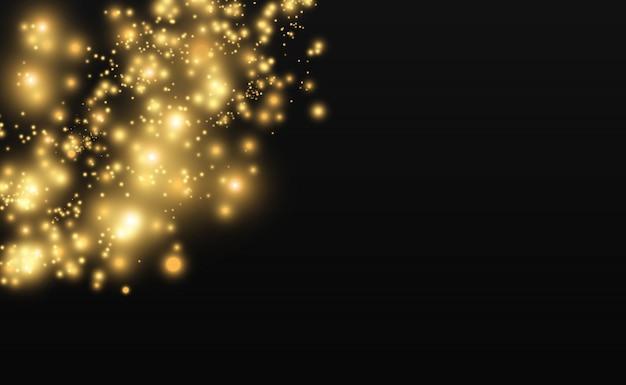 Schöne funken leuchten mit besonderem licht. vektor funkelt auf einem transparenten hintergrund. abstraktes weihnachtsmuster. eine schöne illustration für die postkarte. der hintergrund für das bild. leuchten. Premium Vektoren