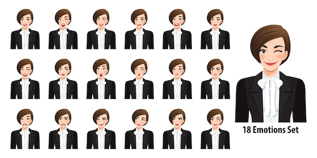 Schöne geschäftsfrau im schwarzen anzug mit verschiedenen gesichtsausdrücken, die in der karikaturcharakterartillustration lokalisiert werden Premium Vektoren