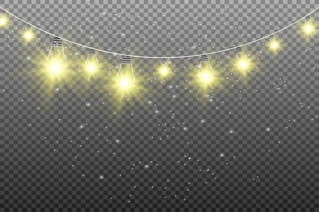 Schöne girlandenlichter isoliert. leuchtende lichter Premium Vektoren