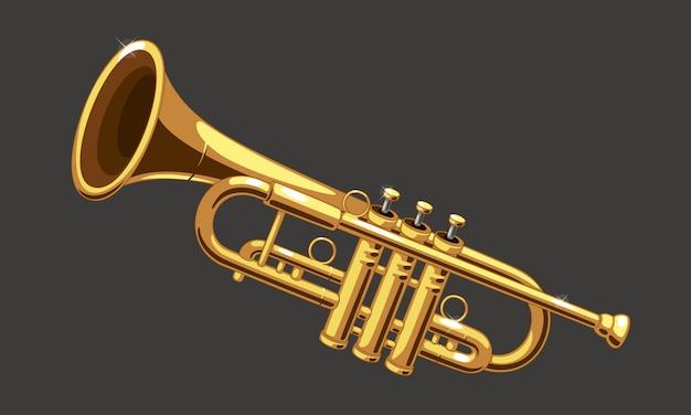 Schöne goldene trompetenvektorillustration Premium Vektoren