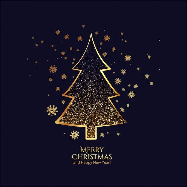 Schöne goldene weihnachtsbaumkartenfeier Kostenlosen Vektoren