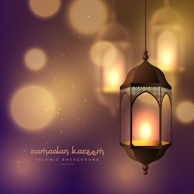 Schöne hängende lampen auf unscharfen bokeh hintergrund für ramadan kareem Kostenlosen Vektoren