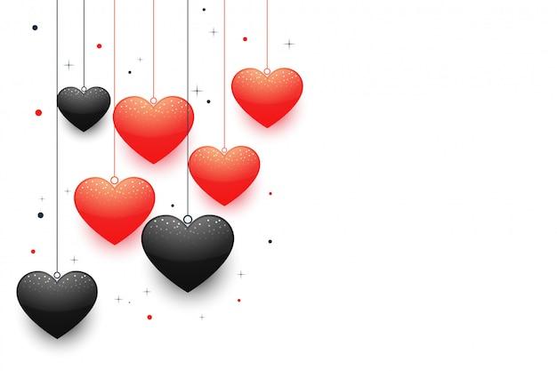 Schöne hängende valentinstagherzen mit textraum Kostenlosen Vektoren