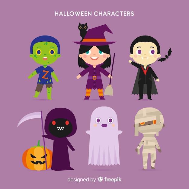 Schöne halloween-charakter-kollektion mit flachem design Kostenlosen Vektoren