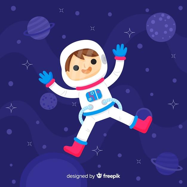 Schöne hand gezeichnete astronaut charakter Kostenlosen Vektoren