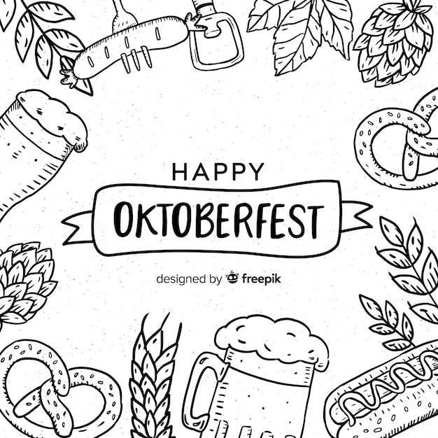Schöne hand gezeichnete oktoberfest zusammensetzung Kostenlosen Vektoren