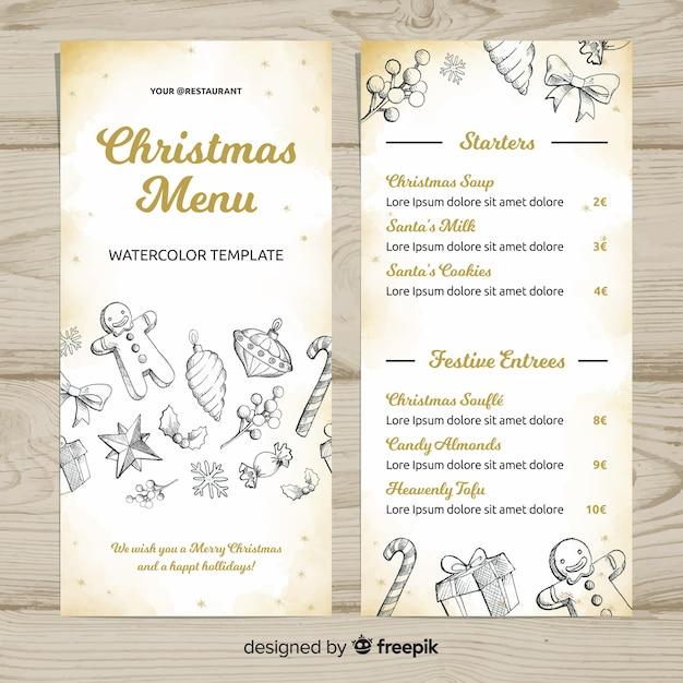 Schöne hand gezeichnete weihnachtsmenüschablone Kostenlosen Vektoren