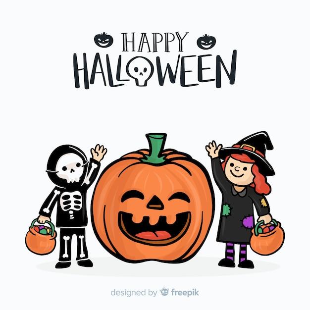 Schöne hand gezeichneten halloween hintergrund Kostenlosen Vektoren