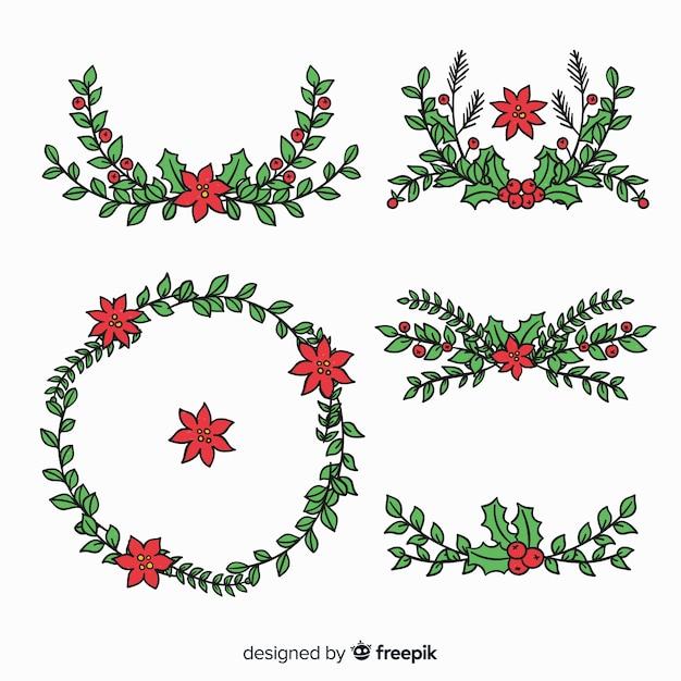 Schöne hand gezeichneter weihnachtsblumen- und -kranzsatz Kostenlosen Vektoren