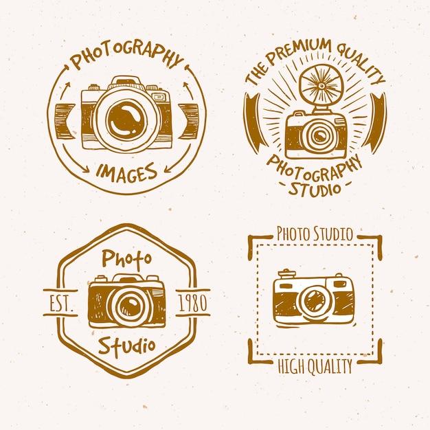 Schöne hand vintage etiketten der fotografie gezeichnet Kostenlosen Vektoren