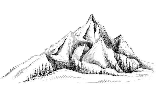 Schöne hand zeichnen landschaft mit bergskizzenentwurf Kostenlosen Vektoren