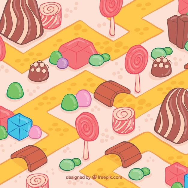 Schöne handgezeichnete süßigkeiten land Kostenlosen Vektoren