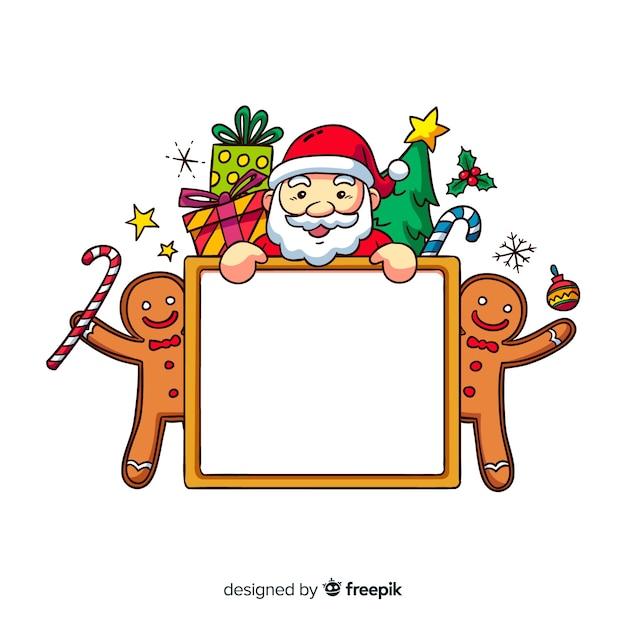 Schöne handgezeichnete weihnachtsrahmen Kostenlosen Vektoren