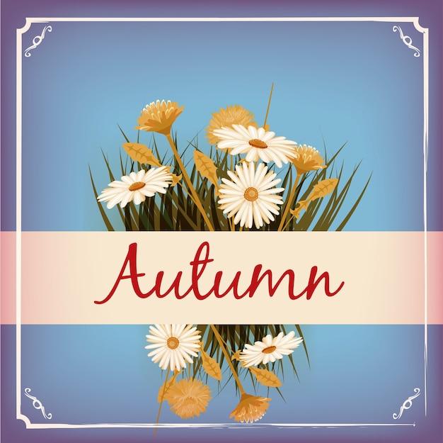 Schöne herbstblumen, blätter, blumenstrauß, gelb, braun, orange Premium Vektoren