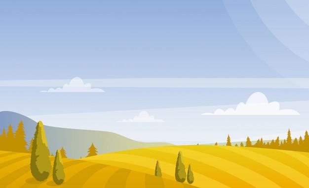 Schöne herbstfelderlandschaft mit himmel und bergen in den pastellfarben. landschaftskonzept im flachen stil. Premium Vektoren