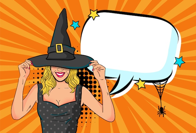 Schöne hexenfrau kündigen halloween-party mit leerer spracheblase in der komischen artillustration an Premium Vektoren
