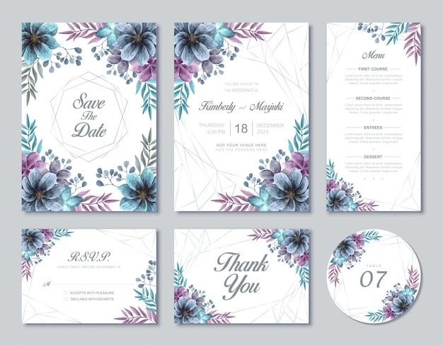 Schöne hochzeits-karten-schablonen-set-blaue und purpurrote aquarell-blumenblumen Premium Vektoren
