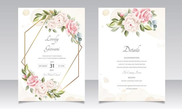 Schöne hochzeitseinladungs-blumenkarte mit goldenem rahmen Premium Vektoren