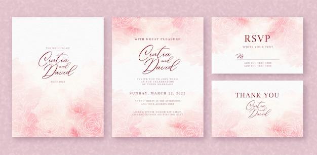 Schöne hochzeitseinladungskartenschablone mit spritzerrosa aquarell und blumenhintergrund Premium Vektoren