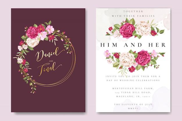 Schöne hochzeitskartenschablone mit bunten kastanienbraunen rosen Premium Vektoren