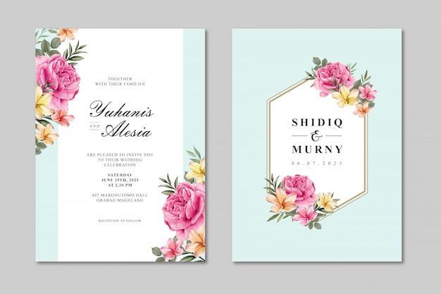 Schöne hochzeitskartenschablone mit bunter rosafarbener blume Premium Vektoren
