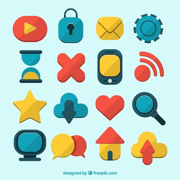 Schöne ikonen von sozialen netzwerken sammlung Kostenlosen Vektoren