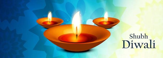 Schöne illustration für diwali-festival mit öllampe für fahne Kostenlosen Vektoren