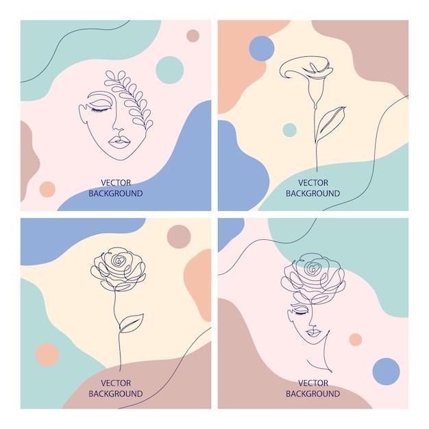 Schöne illustrationen mit dünner linie art und abstrakten formen, schönheitskosmetikkonzept Premium Vektoren