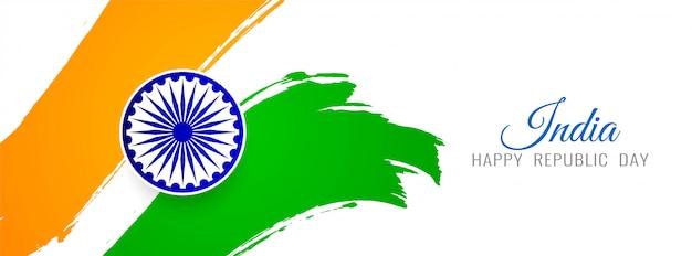 Schöne indische flaggenthemafahne Premium Vektoren
