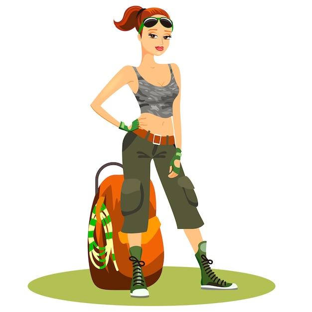 Schöne junge backpackerin in typischen trendigen touristischen kleidern Kostenlosen Vektoren