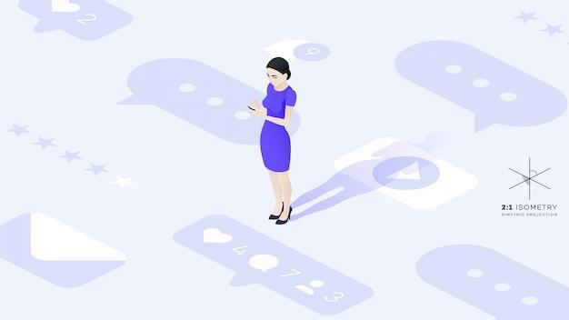 Schöne junge business lady kommuniziert mit ihrem telefon Premium Vektoren
