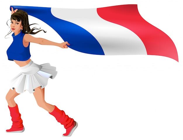 Schöne junge frau in der sportuniform hält flagge von frankreich Premium Vektoren