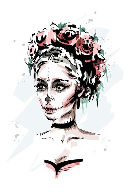 Schöne junge frau mit santa muerte make-up Premium Vektoren
