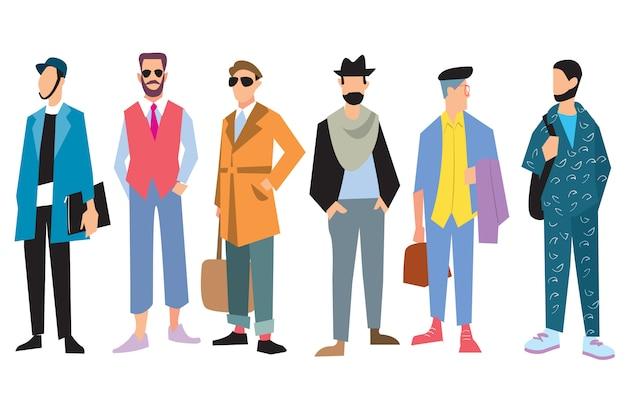 Schöne junge kleidung der männer in mode Premium Vektoren