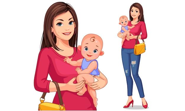 Schöne junge mutter- und babyvektorillustration Premium Vektoren
