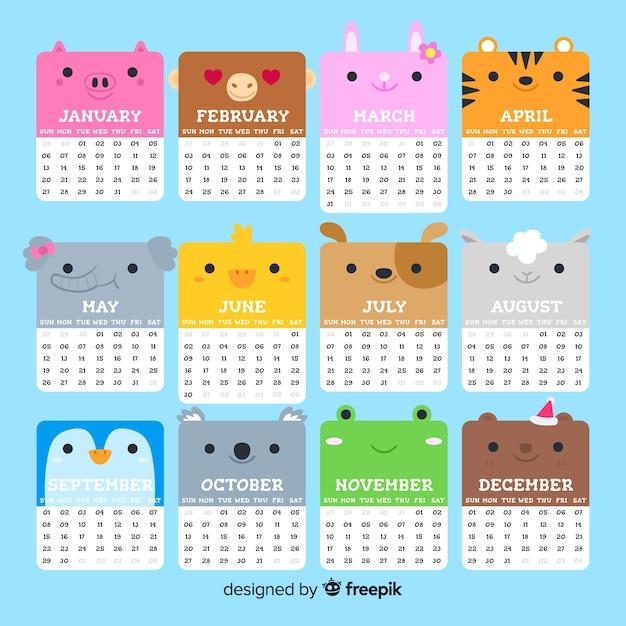 Schöne kalendervorlage 2019 mit flachem design Kostenlosen Vektoren