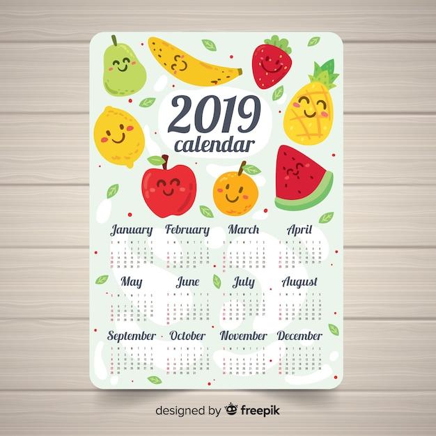Schöne kalendervorlage 2019 mit hand gezeichneten früchten Kostenlosen Vektoren