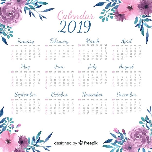 Schöne kalendervorlage des aquarells 2019 Kostenlosen Vektoren