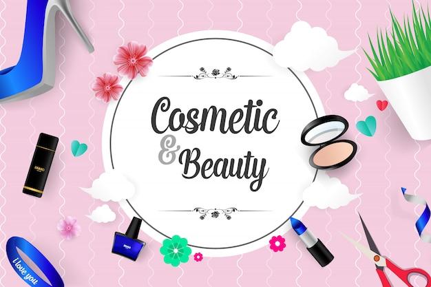 Schöne kosmetik und schönheit Premium Vektoren
