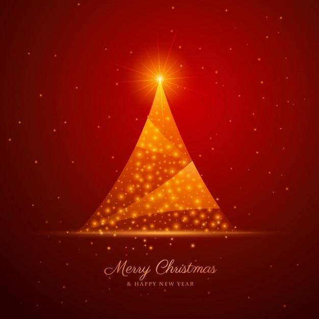 Schöne kreative weihnachtsbaum design auf rotem hintergrund Kostenlosen Vektoren